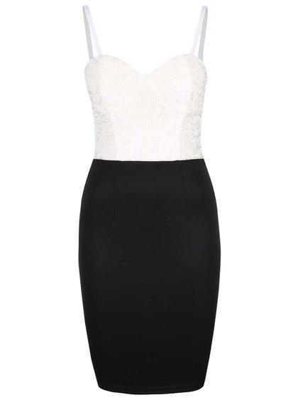 Krémovo-černé šaty na úzká ramínka  AX Paris