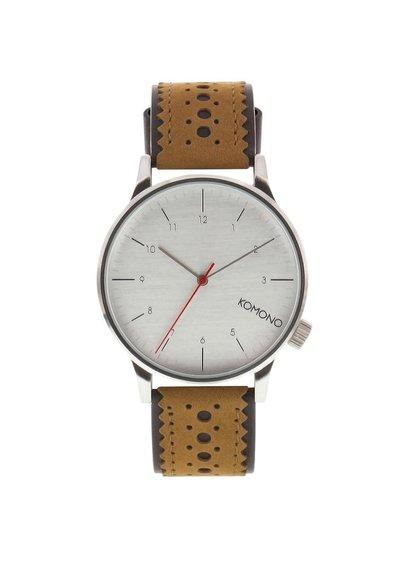 Pánské hodinky ve stříbrné barvě s koženým páskem Komono Winston Brogue