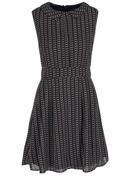 Tmavomodré vzorované šaty s golierikom Mela London