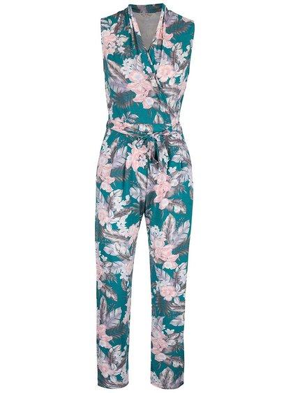 Šedo-zelený květovaný overal Miss Selfridge
