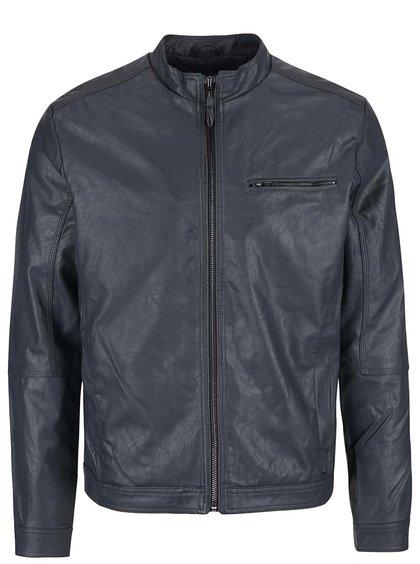 Jachetă gri închis Blend din piele sintetică