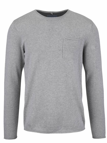 Svetlosivý sveter s vreckom Blend