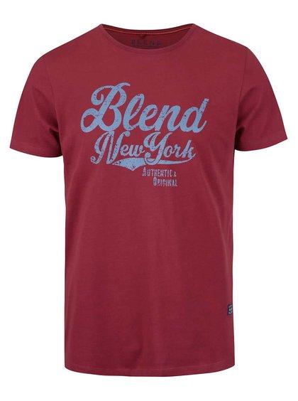 Vínové tričko s okrúhlym výstrihom a potlačou Blend