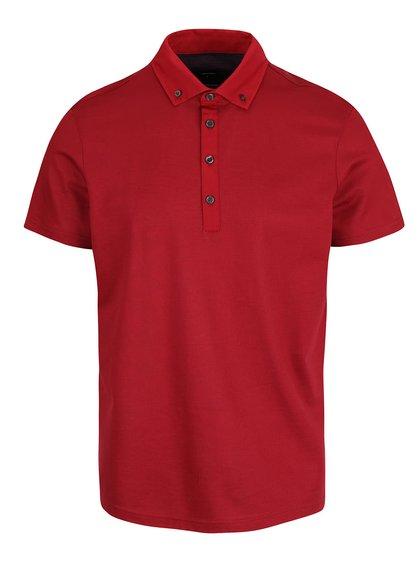 Červené polo triko s knoflíky Burton Menswear London