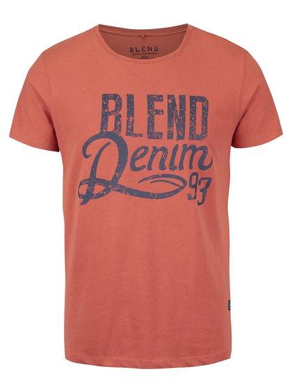 Tricou portocaliu cu print Blend din bumbac
