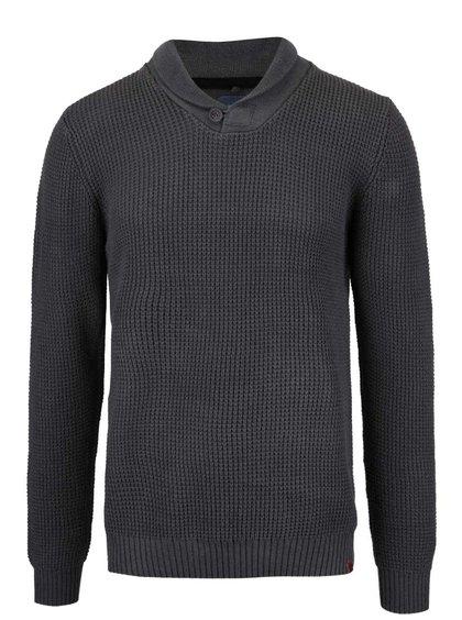 Šedý svetr s límcem a knoflíkem Blend
