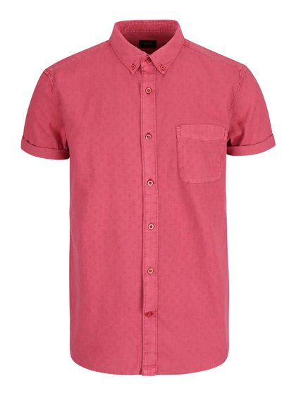 Červená vzorovaná košeľa s krátkym rukávom a vreckom Burton Menswear London