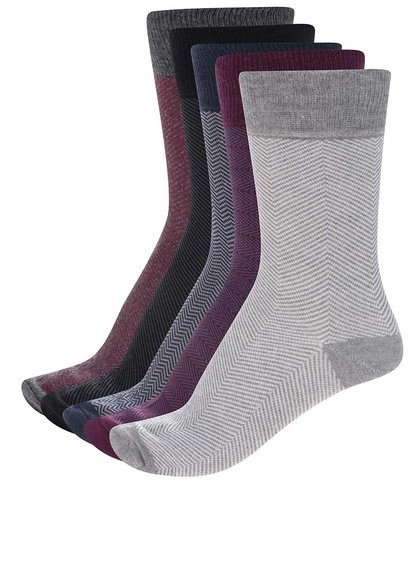 Súprava piatich párov vzorovaných ponožiek Burton Menswear London