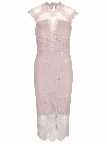 Svetlofialové čipkované šaty s priesvitnými ramenami a výstrihom Little Mistress