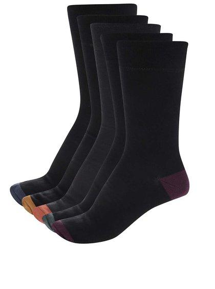 Súprava piatich párov čiernych ponožiek s farebnými detailmi Burton Menswear London