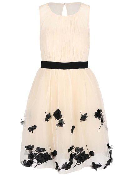 Rochie crem cu negru și model floral Little Mistress