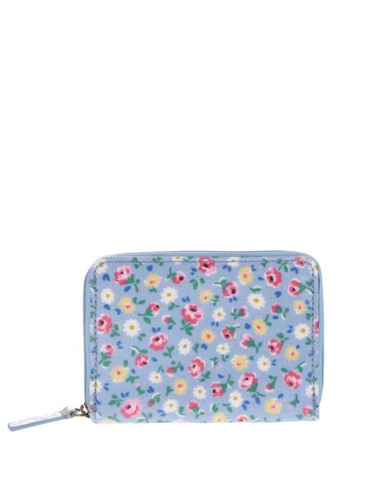 Modrá kvetinová miniatúrna peňaženka na zips Cath Kidston