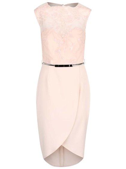 Světle růžové šaty s krajkovým topem a páskem Little Mistress