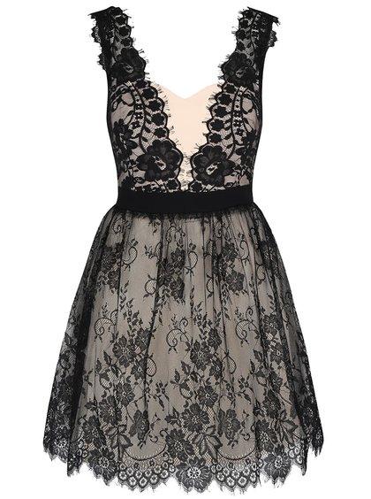 Černo-krémové krajkové šaty Little Mistress