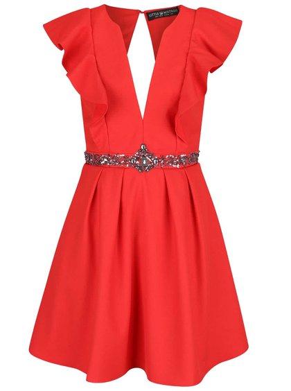 Rochie roșie Little Mistress cu detalii argintii