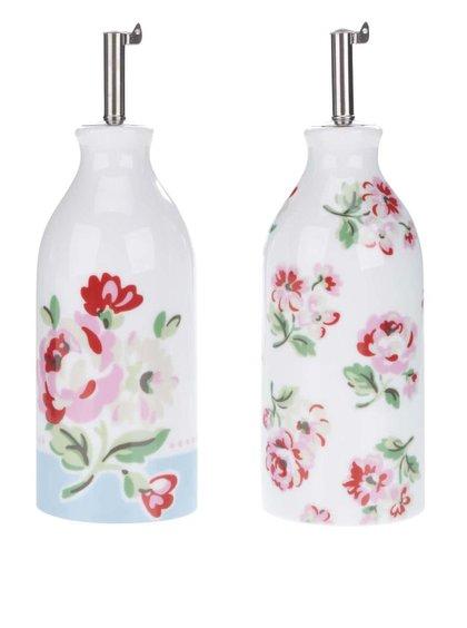 Set dvou lahviček na ocet a olej v bílé barvě s květovaným motivem Cath Kidston