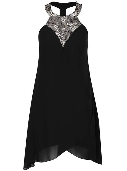 Rochie neagră Little Mistress cu detalii argintii