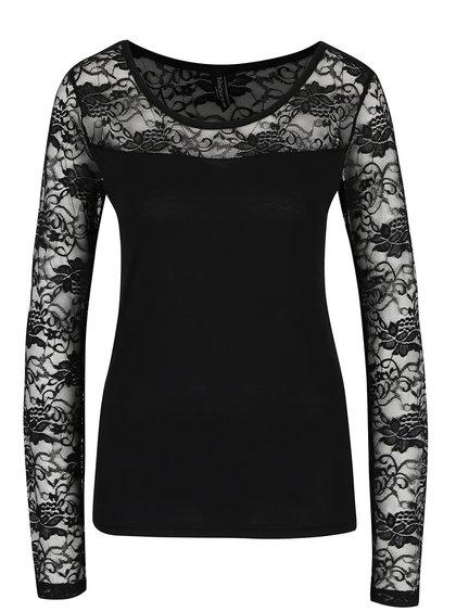 Čierne tričko s čipkovanými rukávmi Madonna