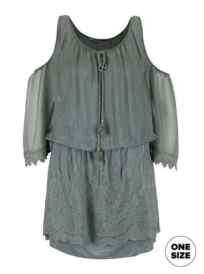 Zelené šaty s průstřihy na ramenou ZOOT Simple
