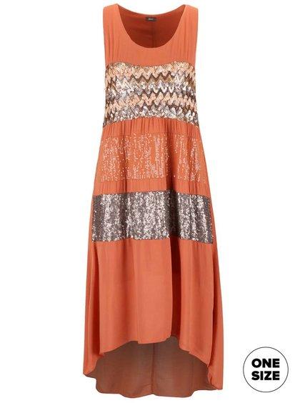 Oranžové šaty ozdobené flitry ZOOT Now