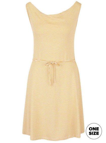 Hořčicové pruhované šaty s prověšeným výstřihem ZOOT simple