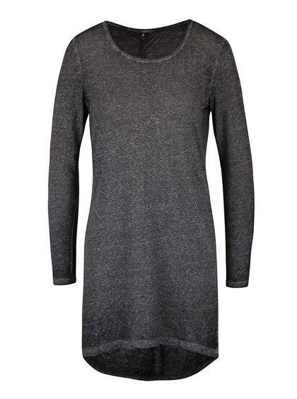Tmavosivé dlhšie melírované tričko s dlhým rukávom ONLY Lucca