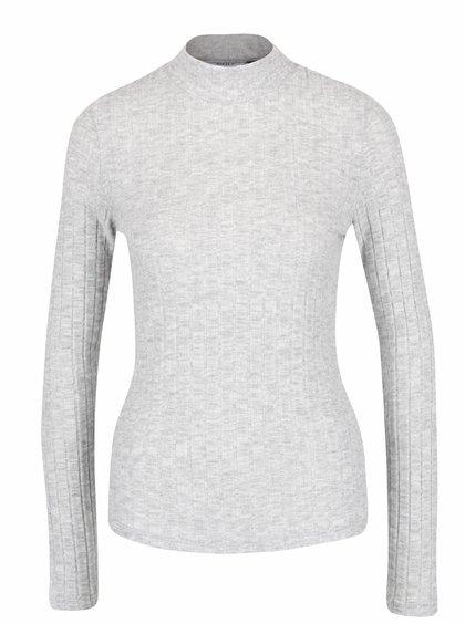 Svetlosivé melírované tričko s rolákom ONLY Great Ripena