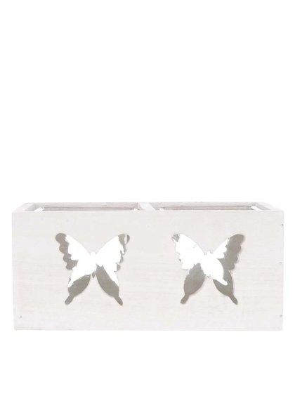 Dvojitý krémový drevený svietnik s vyrezanými motívmi motýľov Dakls