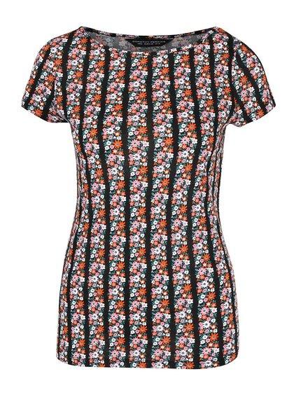 Čierne tričko s potlačou farebných kvetov Dorothy Perkins