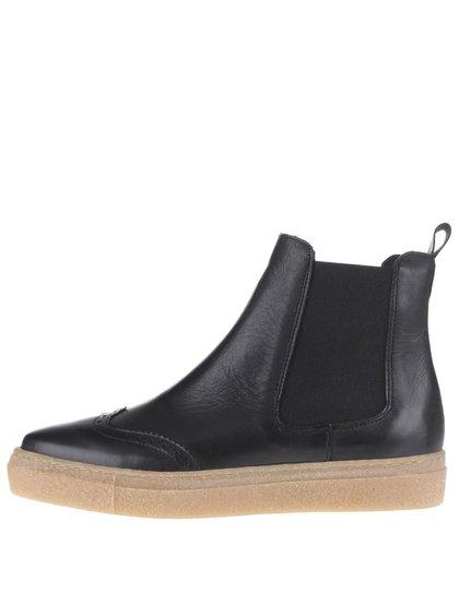 Černé kožené chelsea boty na platformě OJJU Tifon