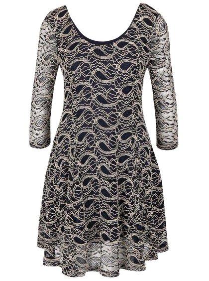 Tmavomodré čipkované šaty s okrúhlym výstrihom Apricot