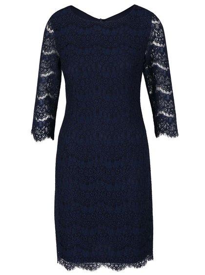 Tmavomodré čipkované šaty s 3/4 rukávmi Apricot