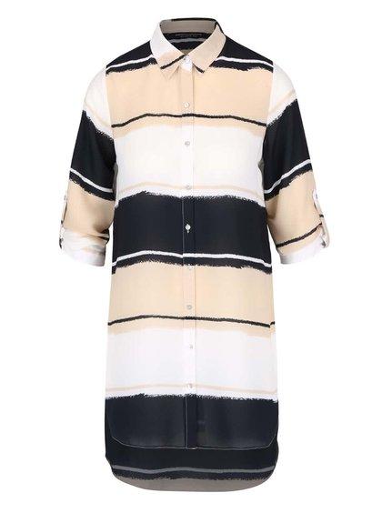 Krémová pruhovaná košeľa s 3/4 rukávmi Dorothy Perkins