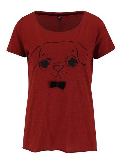 Tehlové tričko s mašľou a motívom psíka ONLY Kaya