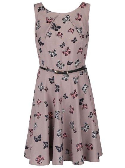 Šedohnědé šaty s potiskem motýlů Apricot