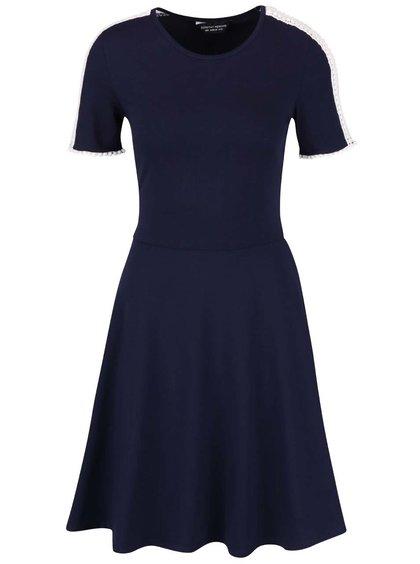 Tmavomodré šaty s čipkovanými detailmi Dorothy Perkins