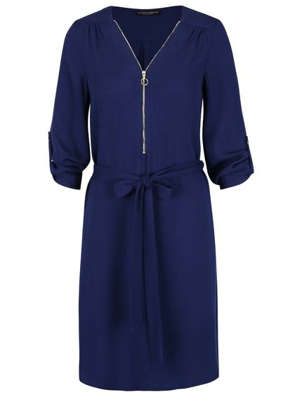 Tmavomodré šaty so zipsom v dekolte Dorothy Perkins