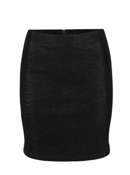 Čierna sukňa s koženkovými pruhmi ONLY Effort