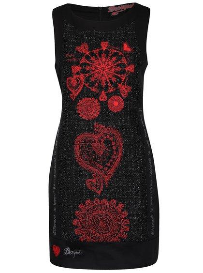 Čierne šaty s červeným vyšívaním Desigual Scarlett