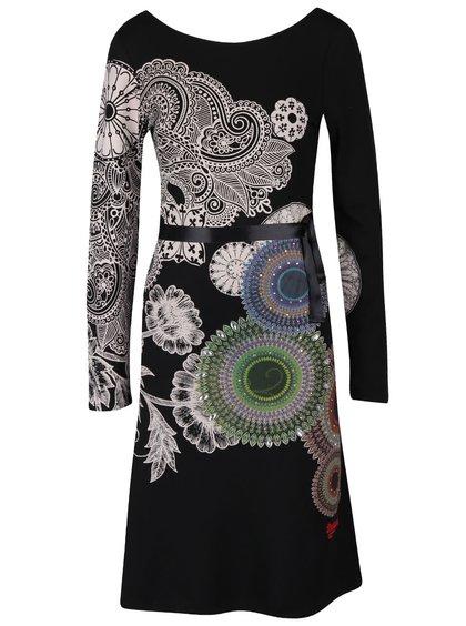 Čierne šaty so stuhou v páse Desigual Anais