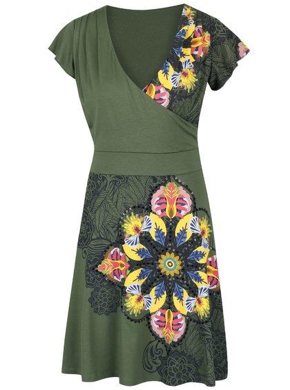 Tmavě zelené šaty s překládaným výstřihem Desigual Nishta