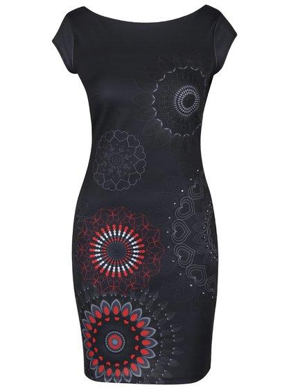 Tmavosivé šaty s ornamentmi Desigual Pichi Grey