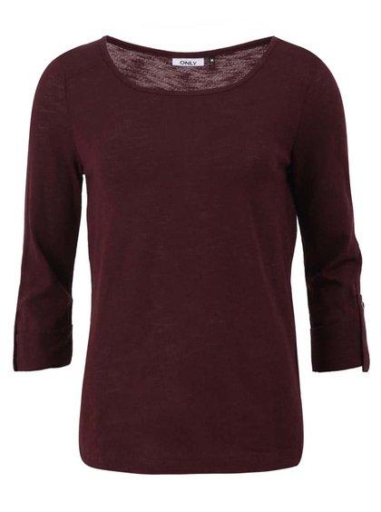 Tmavovínové tričko s 3/4 rukávom ONLY Jess