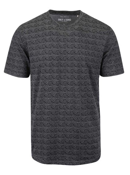 Tricou gri Only & Sons Number cu imprimeu