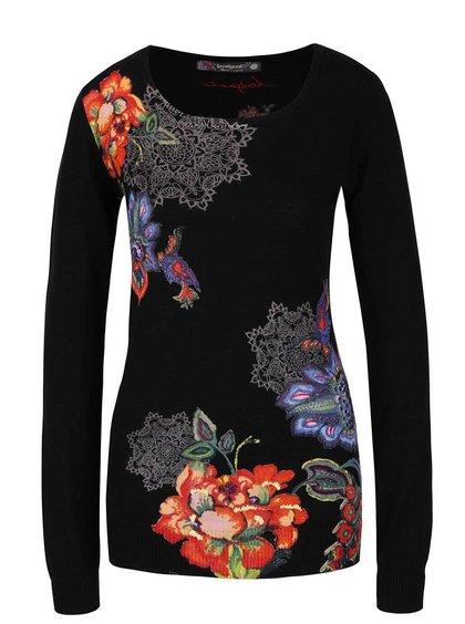 Čierny sveter s červeno-modrými kvetmi Desigual Sophia