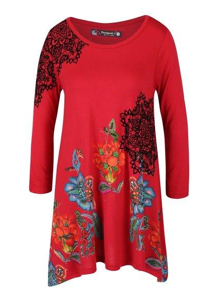 Bluză roșie Desigual Ramona cu tiv asimetric