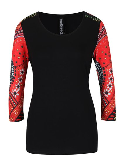 Černé tričko s červenými 3/4 rukávy Desigual Woman