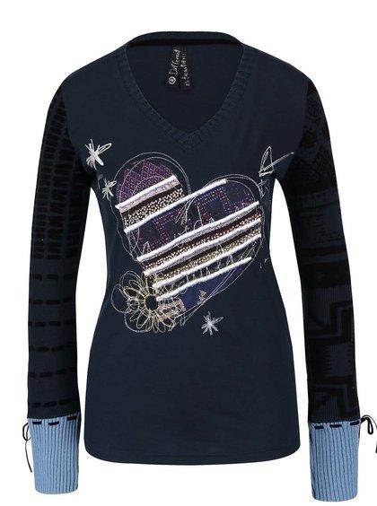 Petrolejové tričko s dlouhými pletenými rukávy Desigual Canace