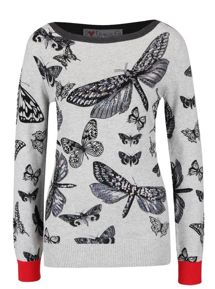Šedý svetr s motýly Desigual Win