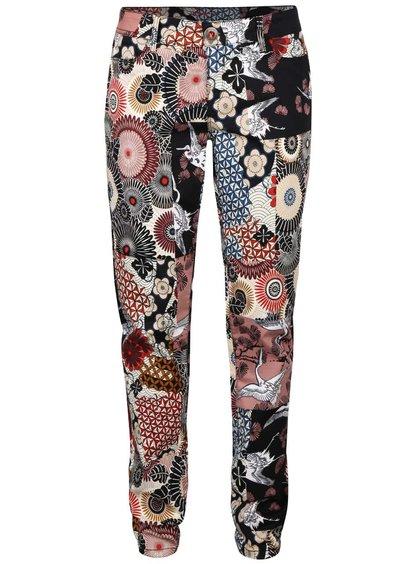 Béžovo-černé vzorované kalhoty Desigual Suave